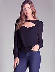 Women's Solid Blue Blouse , Bateau Long Sleeve