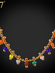 U7® Women's Lovely Necklace Pendant 18K Gold Plated Fashion Jewelry Colorful Coral Beads Charm Necklace