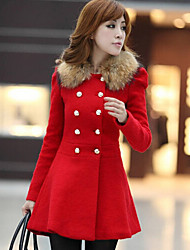 Women's Coat,Patchwork Long Sleeve Winter Blue / Red / Black / Orange Wool / Others Medium