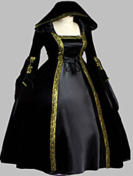 One-Piece/Dress Gothic Lolita Steampunk® / Victorian Cosplay Lolita Dress Ink Blue Vintage Long Sleeve Long Length Dress For WomenSatin /