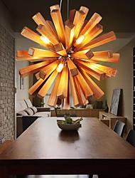Lampe suspendue ,  Rustique Autres Fonctionnalité for LED Bois/BambouSalle de séjour Chambre à coucher Salle à manger Bureau/Bureau de
