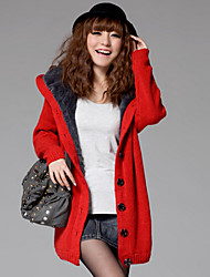 YUYI Women's Solid Color Blue / Red / Brown / Green / Gray Coats & Jackets , Casual Stand Long Sleeve
