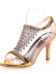 Women's Spring Summer Fall Patent Leather Wedding Party & Evening Stiletto Heel Black Blue Silver Rose Gold