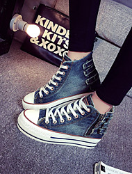 Women's Shoes Denim Platform Platform/Creepers/Round Toe Fashion Sneakers Outdoor/Casual Light Blue/Dark Blue