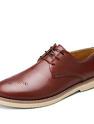 Men's Shoes Casual Leather Oxfords Black / Brown / Orange