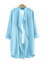 Women's Plus Size Coat,Solid Asymmetrical ¾ Sleeve Fall Blue / Yellow Linen Opaque