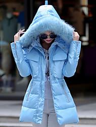 Women's Ladies Solid Slim Down Coat , Casual / Work Hooded Long Sleeve