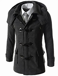 Ronald Men's Asymmetrical Coats & Jackets , Cotton Blend Long Sleeve Casual Button All Seasons