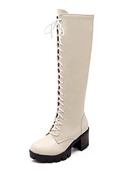 Women's Shoes Chunky Heel Motorcycle Boots/Round Toe Boots Dress/Casual Black/Brown/Beige