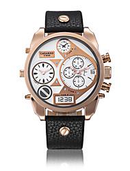 Männer robuste Ausführung drei Zeitzonen schwarzen Gummiband-Armbanduhr (farbig sortiert)