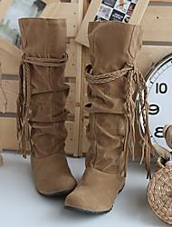 Женская обувь - Ботинки ( PU , Черный / Коричневый / Розовый / Миндальный ) Туфли на танкетке - 3-6см