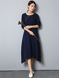 Women's Solid Red / Navy Blue Dress , Vintage / Casual Loose Asymmetric Round Neck Long Sleeve (Linen/Cotton)