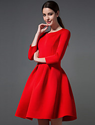 Women's Fashion Autumn Winter Vintage Casual Party Round Pleated Dress