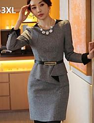 Women's OL Commuter Slim Waist Flod Tweed Plus Size Dress(with Strap)