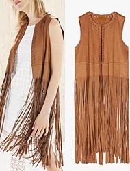 Women's Tassels Coats & Jackets , Vintage / Sexy / Beach / Casual / Cute / Party Cape Sleeveless