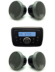 Waterproof Marine Radio Stereo ATV UTV Audio Receiver+2 Pairs 3'' Black Waterproof Speakers