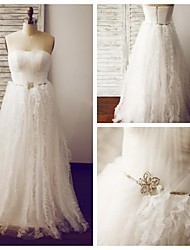 A-line Wedding Dress Floor-length Strapless Tulle with Ruffle