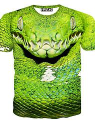 Informell / Bedruckt / Party Rund - Kurze Hosen - MEN - T-Shirts ( Baumwoll Mischung )