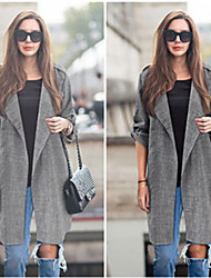 CEN     Women's Solid Color Gray Coats & Jackets , Casual Asymmetrical Long Sleeve