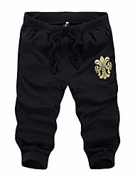 Men's Solid Casual Shorts,Cotton Black / Blue