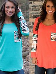 Sexy / Informell / Business Rund - Langarm - FRAUEN - T-Shirts ( Baumwolle / Strickware )