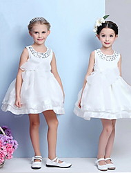 Ball Gown Tea-length Flower Girl Dress - Cotton / Tulle / Sequined / Polyester Sleeveless