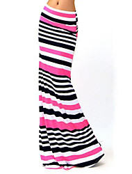 Women's Print / Striped Multi-color Skirts , Casual / Work / Maxi Maxi    LS