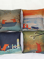 Set of 4 Little  Fox Pillowcase Sofa Home Decor Cushion Cover(17*17inch)