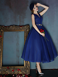 Dress - Dark Navy Ball Gown V-neck Tea-length Spandex