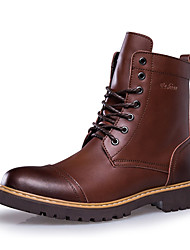Men's Boots Winter Warm Fashion Boots / Comfort Leather Casual Flat Heel Lace-up Black / Brown / Coffee Others