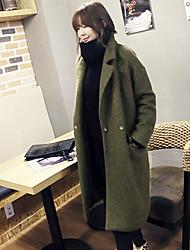 Damen Solide / Patchwork Mantel,Winter Gekerbtes Revers Langarm Rot / Grün Mittel Baumwolle / Polyester