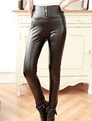 Women's New High Rise Black Zipper Skinny Pants , Bodycon / Casual