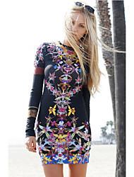 Women's Multicolor Orchid Garden Print Dress