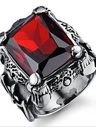 Anelli Da uomo Rubini Acciaio di tungsteno Acciaio di tungsteno 7 / 9 Nero I colori delle decorazioni sono come da immagine