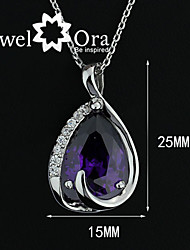 Fashion Jewelry Women Necklaces & Pendants Delicate Purple Rhodium Plated CZ Lady Pendant