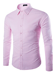 Men's Solid Casual Shirt,Cotton / Polyester Long Sleeve Black / Blue / Pink / Red / White / Yellow / Gray