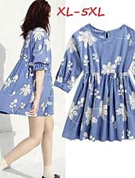 Women's Jacquard Blue Dresses , Casual/Cute Round ½ Length Sleeve