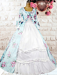 One-Piece/Dress Sweet Lolita Lolita Cosplay Lolita Dress Sky blue Print / Floral Long Sleeve Medium Length Dress For Women Cotton