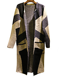 w-sweater Women's Patchwork Multi-color Coats & Jackets , Casual Stand Long Sleeve