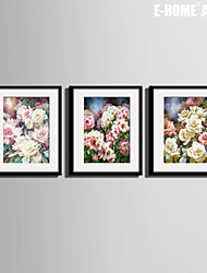 E-HOME® Framed Canvas Art,  Flowers Canvas Print Set of 3