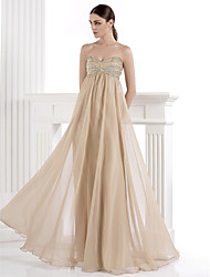 Formal Evening Dress - Sparkle & Shine A-line Sweetheart Floor-length Chiffon Spandex with Beading Crystal Detailing