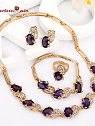 WesternRain Purple Lady Gold Plated Jewelry Elegant Fashion Bridal Wedding Dress Accessories Costume Jewelry Set