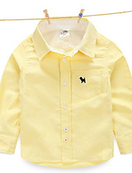 Kid's Casual Animal Embroidered Long-sleeved Lapel Shirt