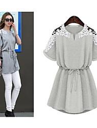 Women's Lace Gray   Plus Size Dresses , Vintage / Casual Round Short Sleeve