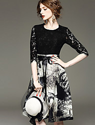 Women's Patchwork  Jacquard Black Dress  Vintage  Work Round Neck  Sleeve