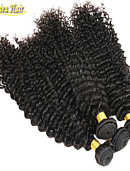 3 unidades / lote de 100% cabelo humano profundo onda cabelo virgem produtos não transformados Remy cabelo humano tecer 8a brasileiro tece