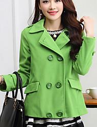 Women's Solid Green Jackets , Casual Shirt Collar Long Sleeve