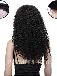 Premierwigs de qualité 8a 8 '' - 24 '' france vierges naturels des perruques frisées dentelle de base de soie avant avec des cheveux de