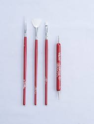 4pcs High Quality Nail Art Brush Set Pro Design Drawing Nail Brushes 100% Brand New