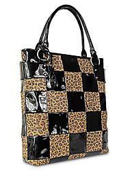 Kate@Co.® Women's Black Pvc Check Splicing Multi-Function Handbag(14 Inch)